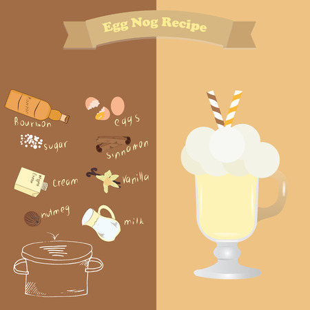 eggnog: recipe for Egg Nog ingredients for Christmas hot drink. Page booklet magazines. Advertising for cafes and restaurants. The recipe for a cookbook Illustration