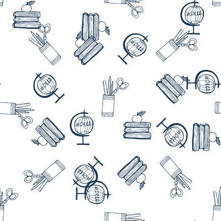 articulos de oficina: Modelo de la escuela artículos de la oficina de tinta de dibujo artesanal dibujo vectorial Vectores