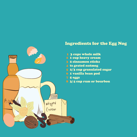 eggnog: Egg Nog ingredients for Christmas hot drink. Page booklet magazines. Advertising for cafes and restaurants. The recipe for a cookbook