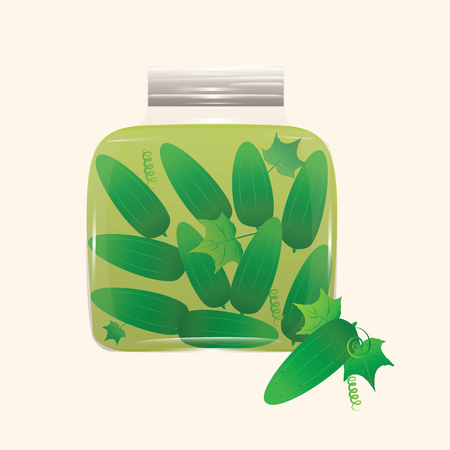 glass jar of canned cucumbers isolated on white background for your product advertising in shops cafes and restaurants