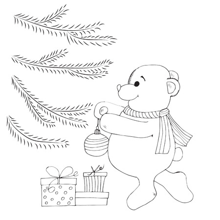 Boceto De Tinta Regalos De Abeto Del árbol De Abeto De Navidad Para ...