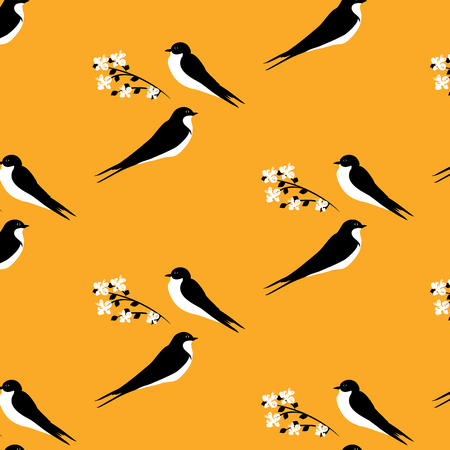two birds: two swallows and branch with flowers pattern art creative modern vector