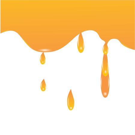 melt: maple syrup, apricot peach honey dripping yellow splash isolated creative modern art illustration white background vector design element