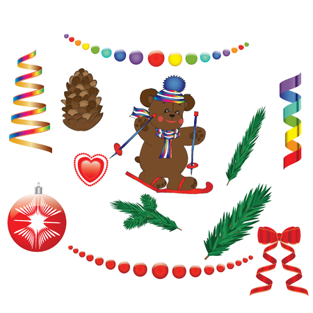 set of Christmas decorations bear on skis serpentine road ribbon garland balls pine cone isolated on white background vector elements for design
