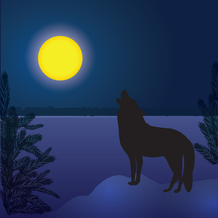 wolf moon winter landscape forest dark blue background abstract art creative modern vector illustration