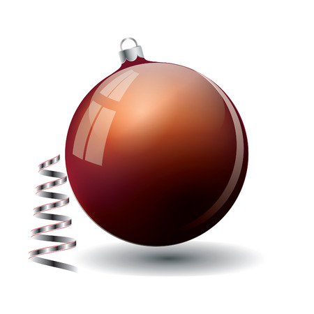 red glass ball silver spiral isolated on white background festive decoration design element vector Christmas New Year Illustration