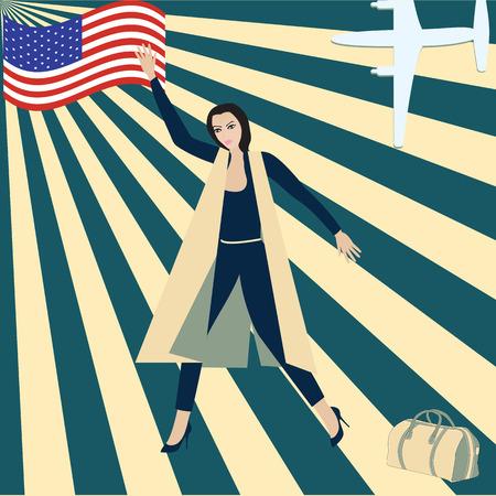travel poster American flag woman airplane travel bag rays of sun art abstract creative modern vector illustration Stock Vector - 69685409