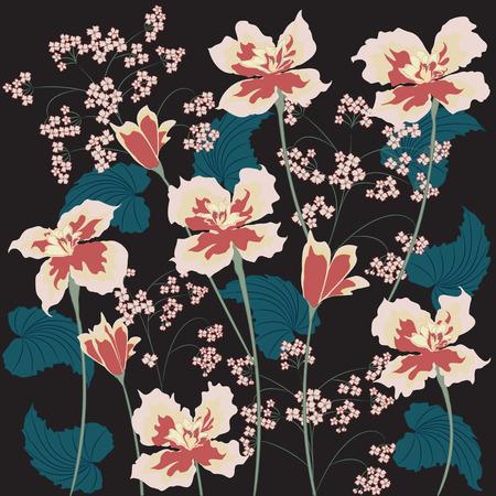 Flowers irises abstract art creative modern illustration black background vector