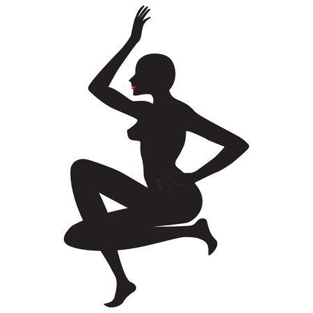 silhouette of a woman yoga exercise balance harmony isolated white background vector design element for advertising sports dance yoga