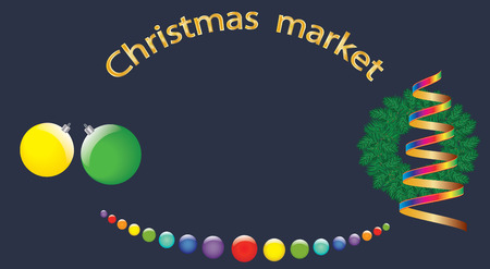 christmas market: banner christmas market wreath fir balls christmas balls garland serpentine road vector dark blue background