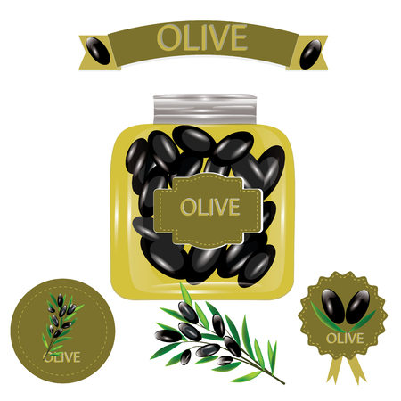 pitted: set of black olives in a glass jar labels branch with olives isolated white background vector