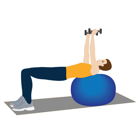 sport yoga young man exercising with dumbbells on the ball isolated on white background vector