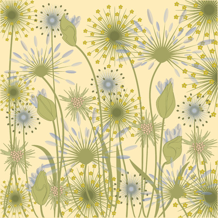 fiori di campo: wildflowers background pale blue beige art creative vector