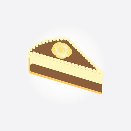 trozo de pastel: el chocolate pedazo de la torta decorada con una rosa amarilla aislada en el fondo blanco del arte del vector elemento de diseño creativo