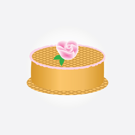 Waffle cake decorated with a rose isolated on a white background art creative vector design element
