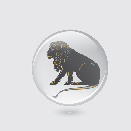 Leo icon glass round white background abstract art creative modern vector