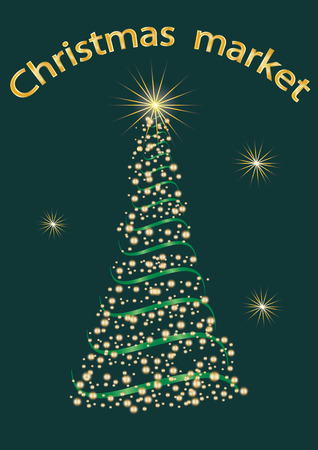 christmas market: banner Christmas Market vector dark green background Illustration