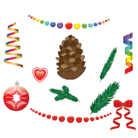 Set of Christmas tree decorations Serpentine bow garland balls pine cone isolated on white background vector elements for design