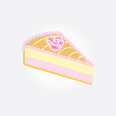 piece Fruit Cake is decorated with a pink rose isolated on a white background art creative vector design element