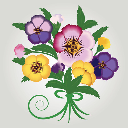 Bouquet of wild flowers bright pansies isolated on a light background art creative modern vector illustration Illustration
