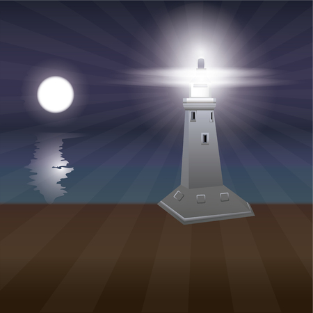 lighthouse night moon bright rays of light sea land art abstract creative modern vector illustration