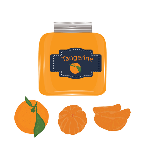 set tangerine jam glass jar isolated white background vector modern abstract