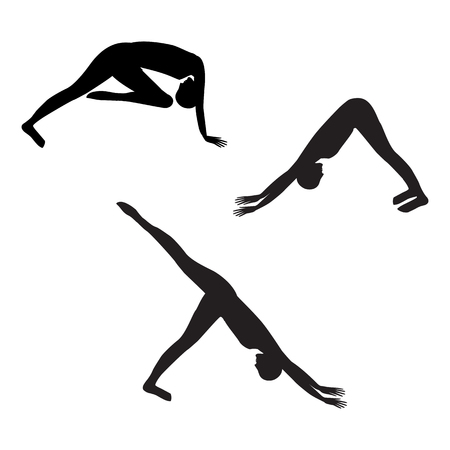 aerobics class: sketch sport yoga silhouette three elements of stretching exercises isolated on white background vector