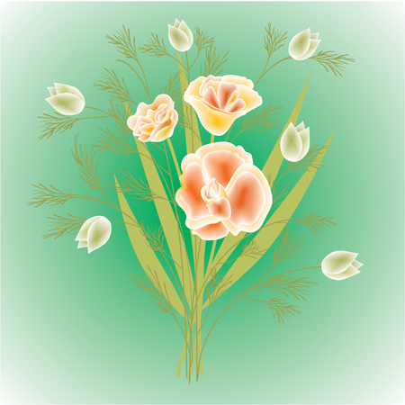 bouquet of wild flowers on a light green background vector illustration of modern art Illustration