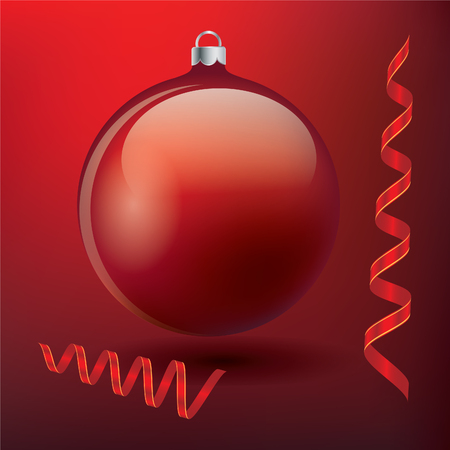 dark red ball of glass and a bright red streamers isolated mesh red background festive decoration design element vector Christmas New Year
