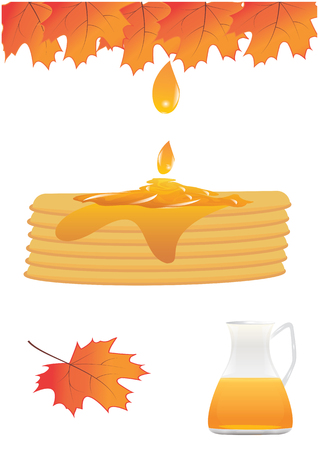 Set the pie is filled with maple syrup drop glass jug autumn leaves isolated white background vector design element Illustration