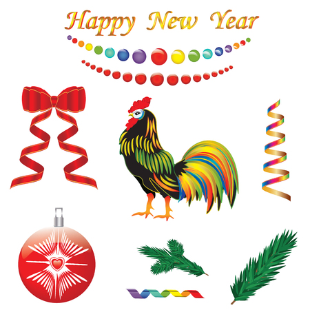 set of colorful decorations festive New Year symbol Rooster Serpentine beads red bow ball spruce branch isolated on white background vector element for design Illustration