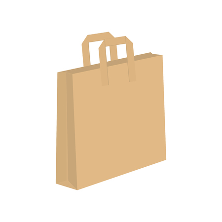 unprinted: Empty brown shopping bag isolated on white background . mock up. layout for advertising design Illustration