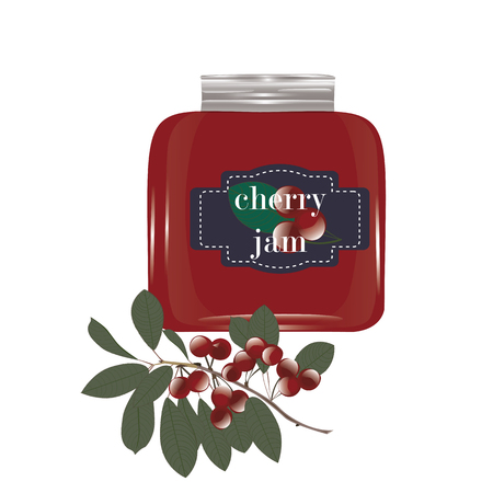 bank branch: Cherry jam in a glass jar and a cherry on a branch with leaves isolated on white background vector