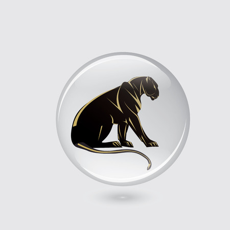 Panther icon glass round white background abstract art creative modern vector