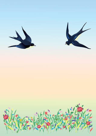Banner spring summer landscape field flowers flying swallows gentle background abstract modern art creative vector