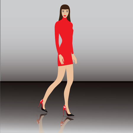 reflection of life: woman in realistic patent leather shoes with high heels red-black mirror image of footwear art creative vector Illustration