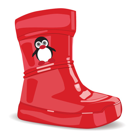 realistic red rubber boots for children little penguin isolated on white background art modern vector design element