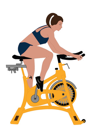 woman on exercise bicycle isolated on white background art creative modern vector illustrations flat style element for design