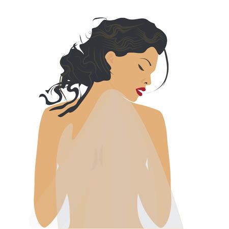 suntan cream: modern woman covered with a light transparent fabric isolated on a white background art creative vector element for design beauty salon massage advertisement sunblock solarium