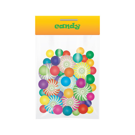 sweetmeat: candy lollipop sweetmeat colorful assortment in transparent bag isolated art creative vector illustration element for design Illustration