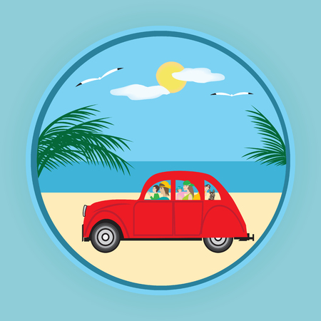 small red car family parents children dog palm sea sun gull art creative modern vector design element of tourism logo