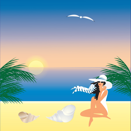 scarf beach: woman in a white hat on the beach sunrise sunset sea shell seagull palm art creative modern abstract illustration of a blue background vector