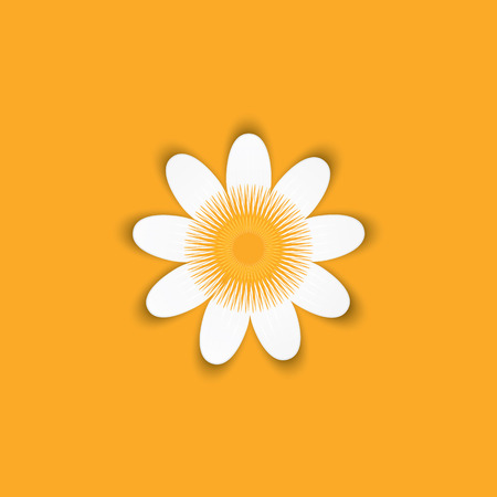 origami daisy field flower abstraction isolated on a yellow background art creative modern vector illustration element for design