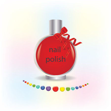 nail polish glass bottle red bow with ribbons round multicolored drops isolated on white background art vector element for design