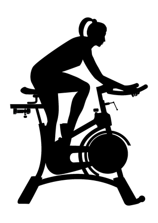 sketch of a woman on exercise bicycle isolated on white background art creative modern vector illustrations flat style element for design