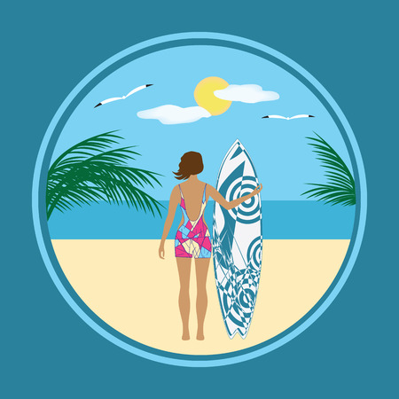Travel poster surfer sea sun gull art creative modern vector illustration Illustration