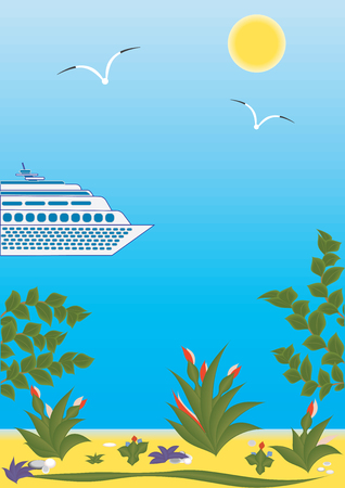 cruise ship Sun Sea Gull sandy beach tree branch flower art creative modern abstract vector illustration Travel Poster