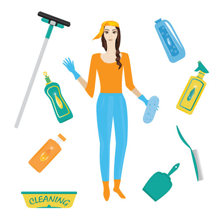 Set for cleaning woman in rubber gloves detergent in bottle scoop brush sponge wiper isolated white background art creative vector illustration element for design