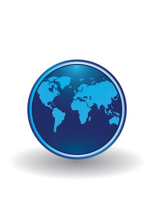 logo blue globe isolated on white background art creative vector element for design
