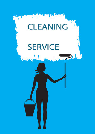 whitewash: cleaning service poster girl silhouette bucket roller brush stroke watercolor isolated on a blue background art creative vector illustration element for design